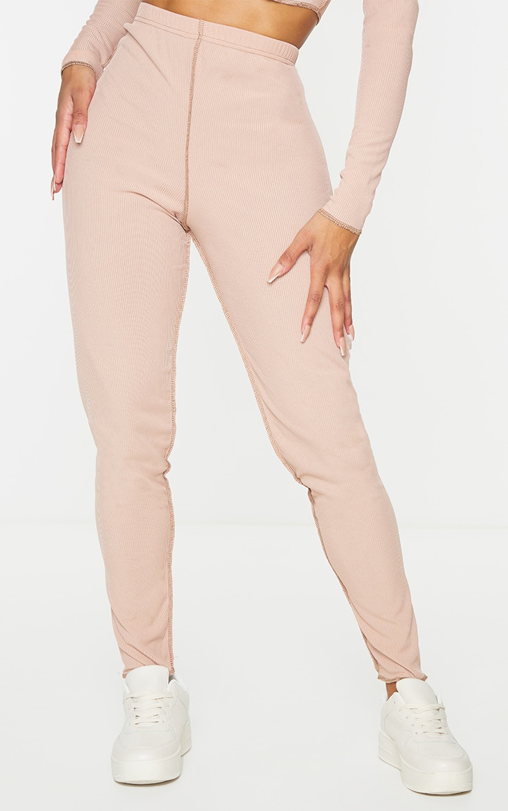 Shape Stone Rib Overlock Seam Detail Split Hem Leggings 2