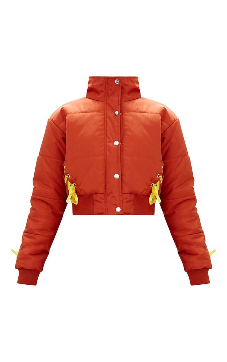 Orange Lace Up Detail Bomber Jacket 3