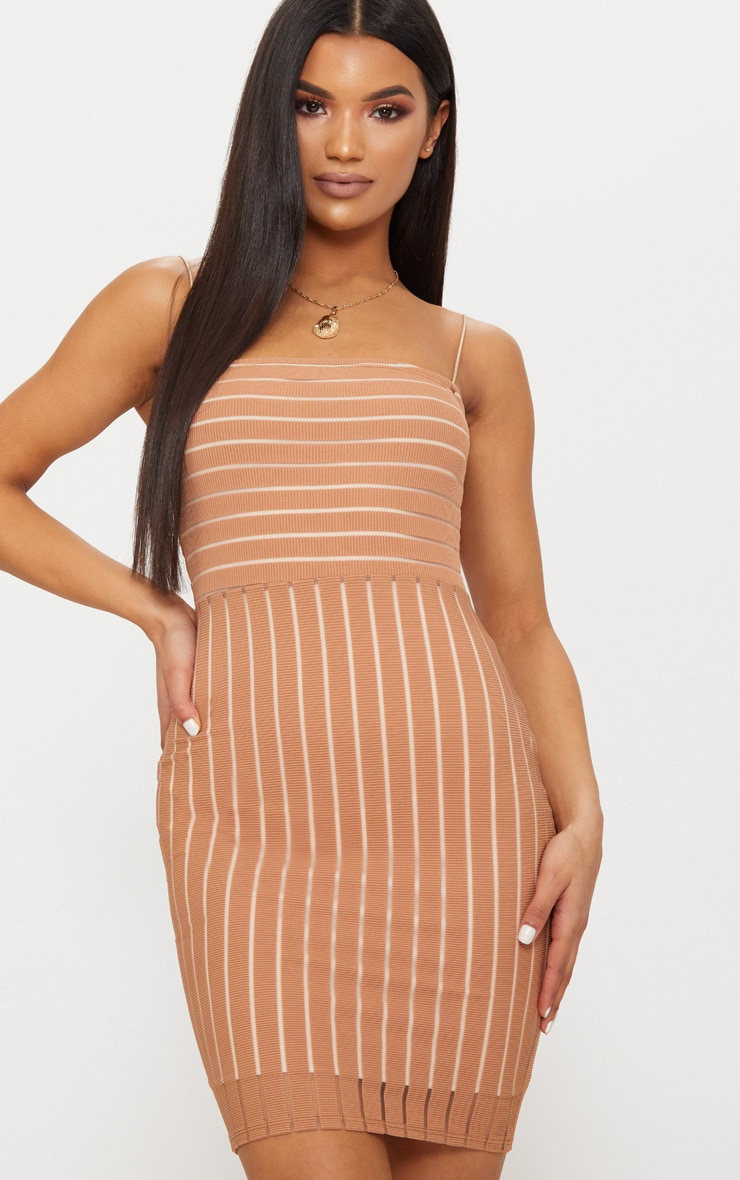 Tan Striped Mesh Strappy Bodycon Dress 1
