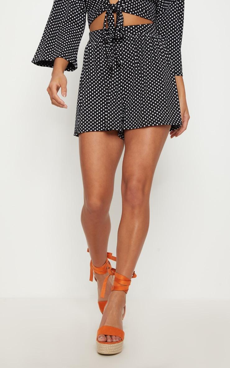 Petite Black Polka Dot Shorts 2