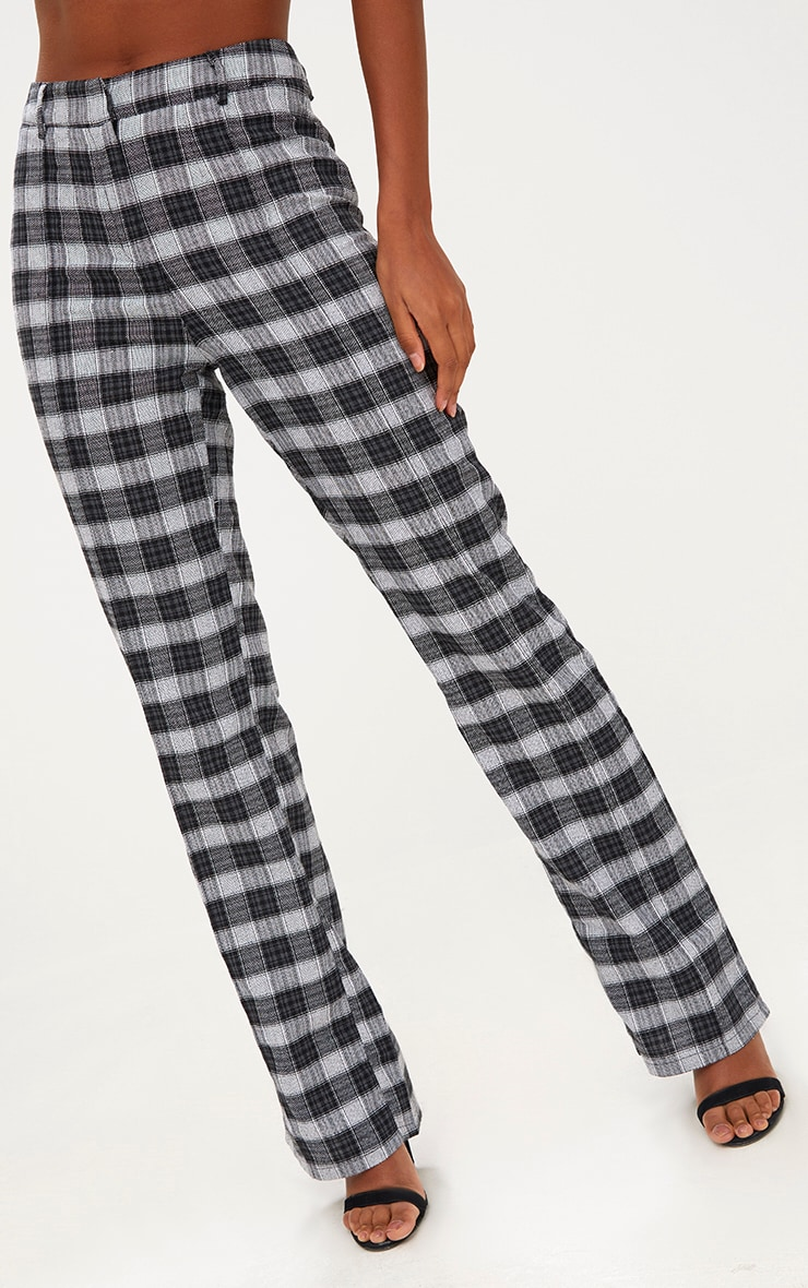 Black Check High Waisted Trousers 5