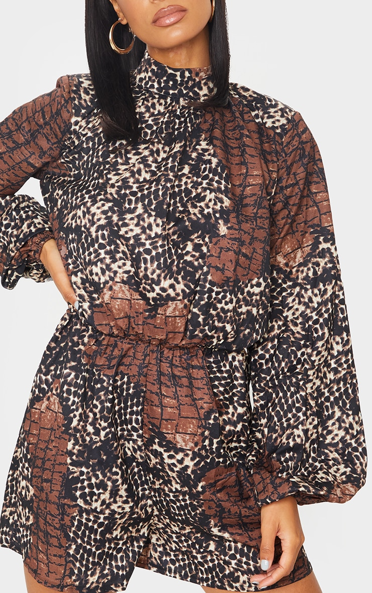 Brown Animal Print High Neck Balloon Sleeve Playsuit 4