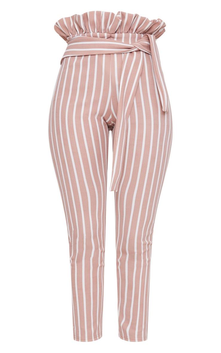 Blush Pinstripe Paperbag Skinny Trousers 3