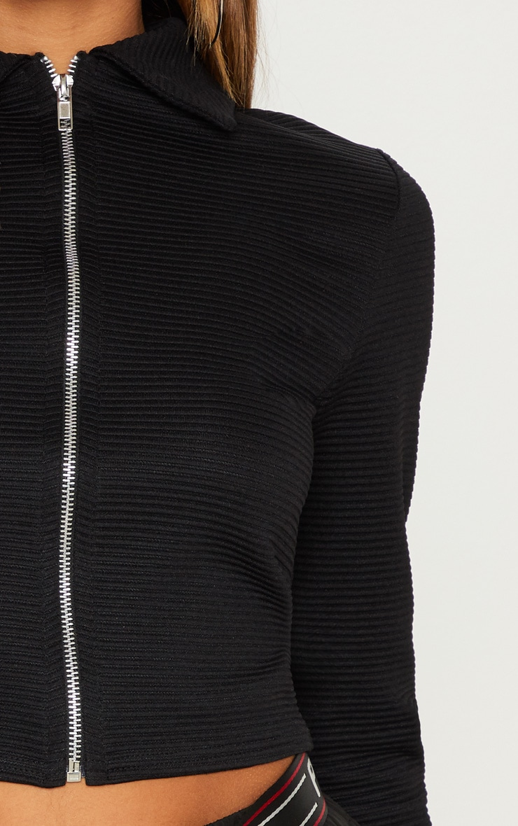 Black Rib Zip Up Top 6