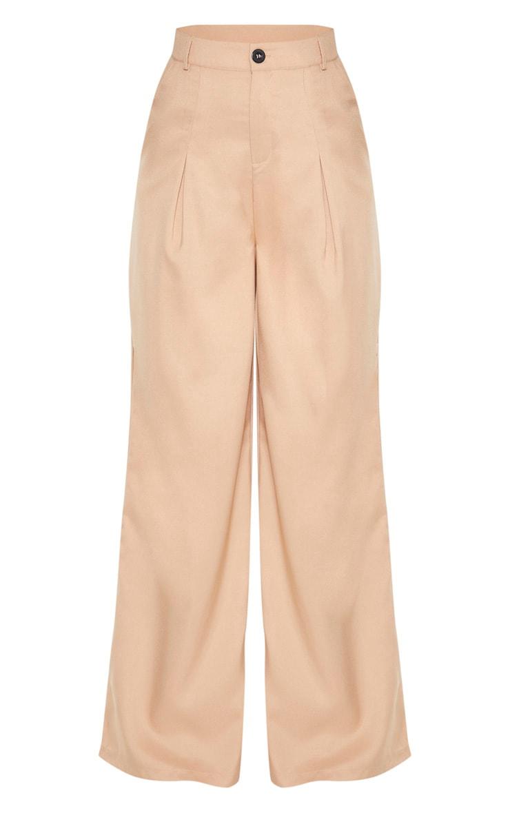 Camel Wide Leg Woven Pleat Trouser 3