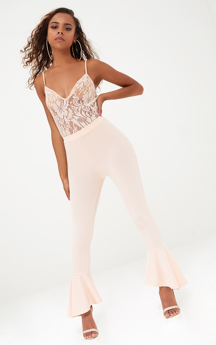 Petite Nude Strappy Sheer Lace Bodysuit 3