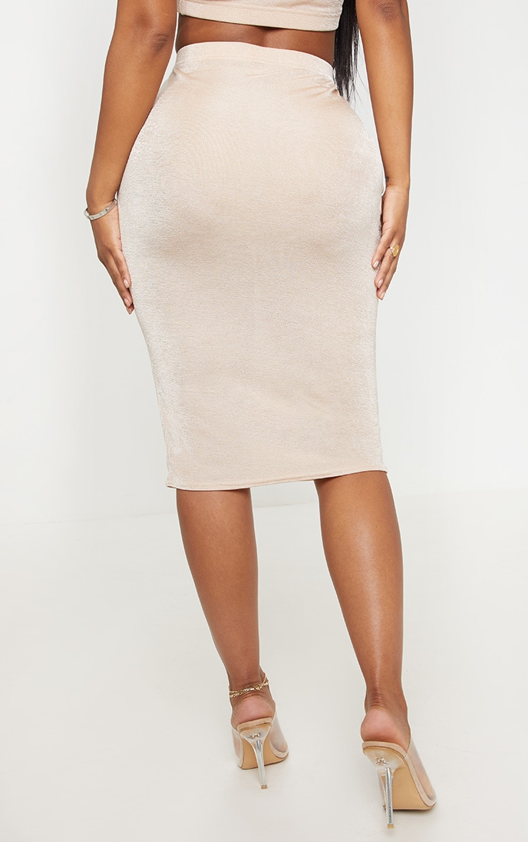 Shape High Waisted Nude Slinky Midi Skirt  4
