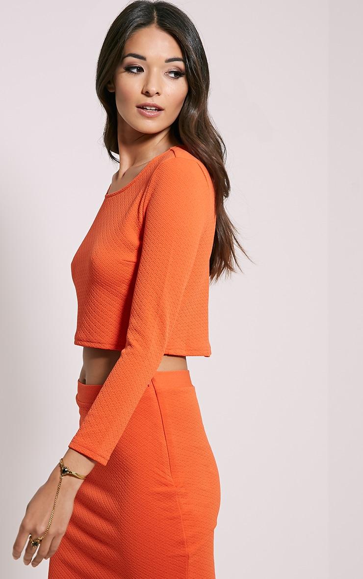 Beulah Orange Textured Crop Top 4