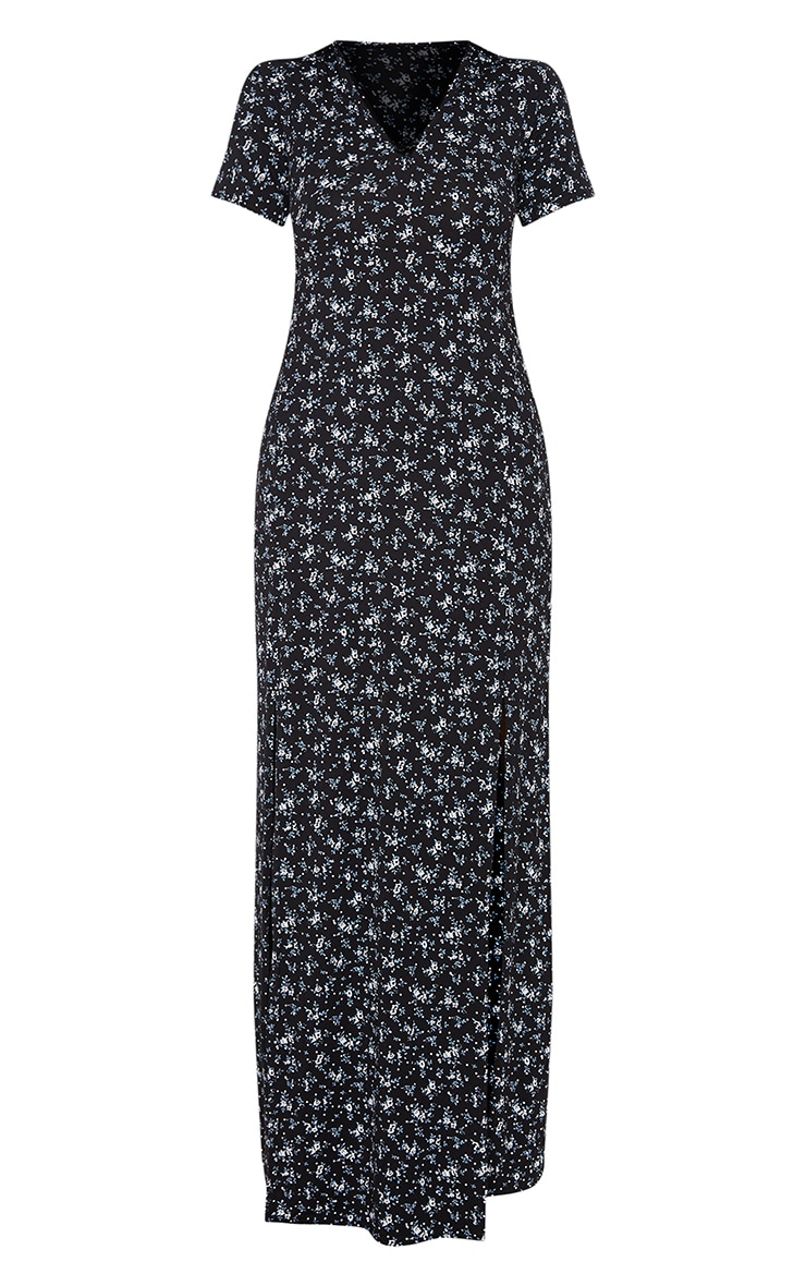 Black Ditsy Floral Split Detail Maxi Dress 3