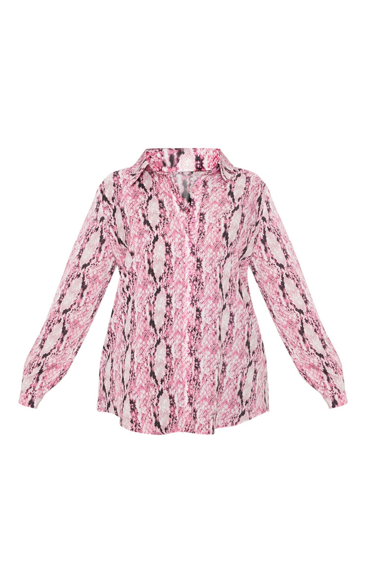 Plus Pink Snake Print Oversized Shirt 3