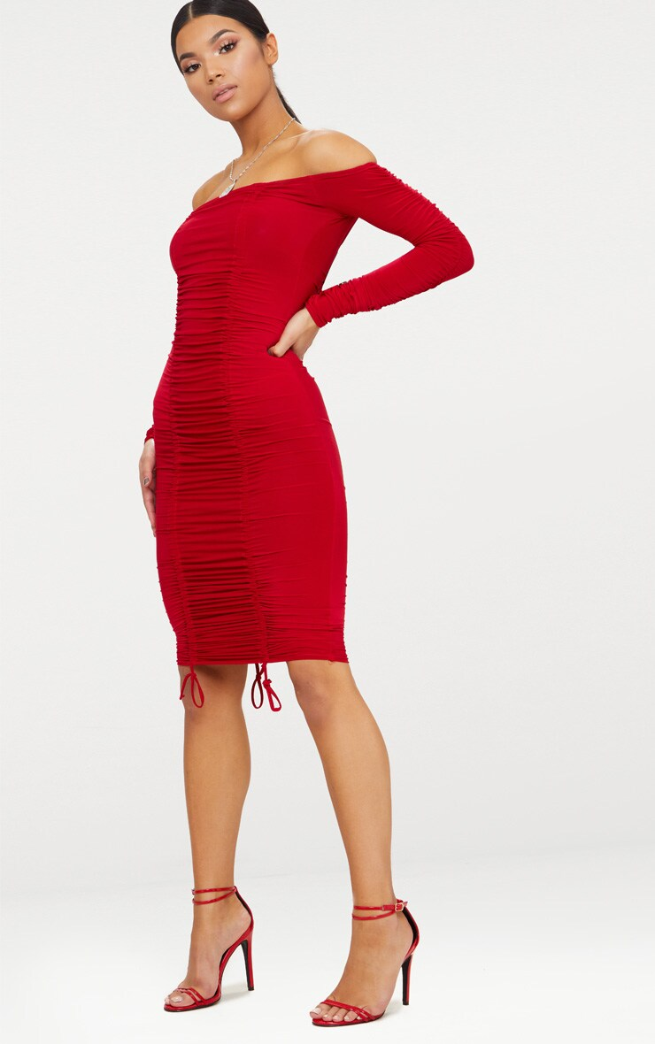 Red Bardot Ruched Slinky Midi Dress 4