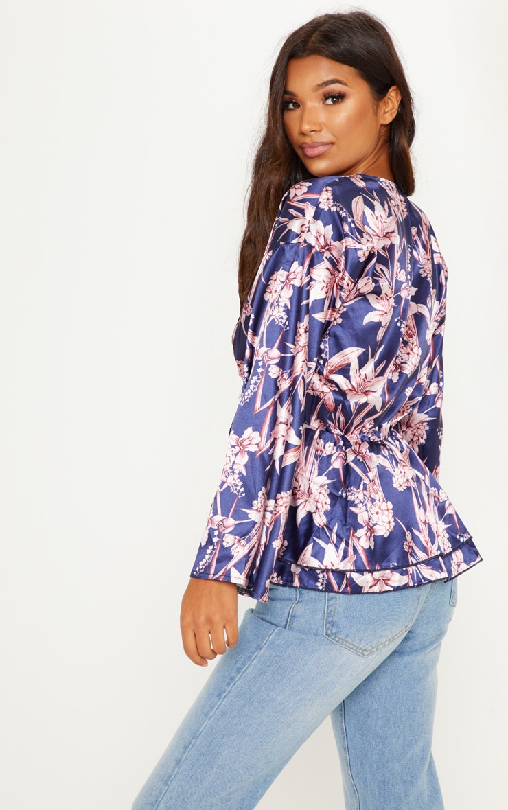 Navy Floral Flare Sleeve Top 2
