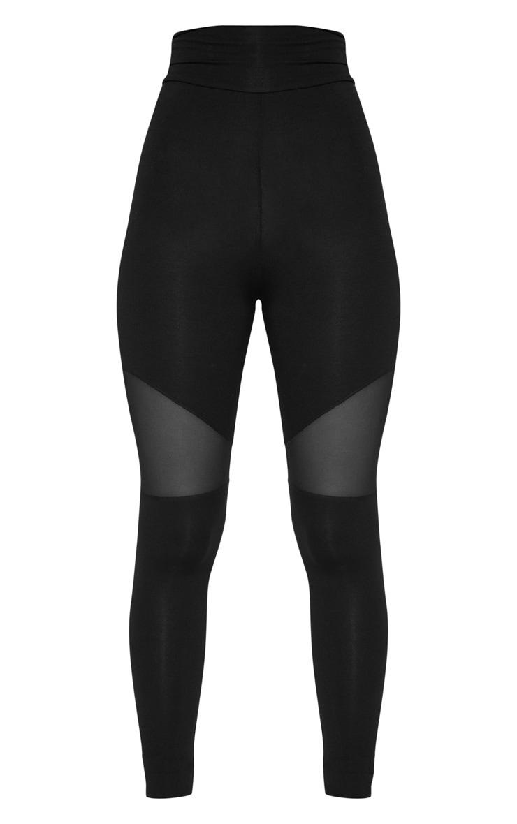 Black Mesh Panel Jersey Legging  3