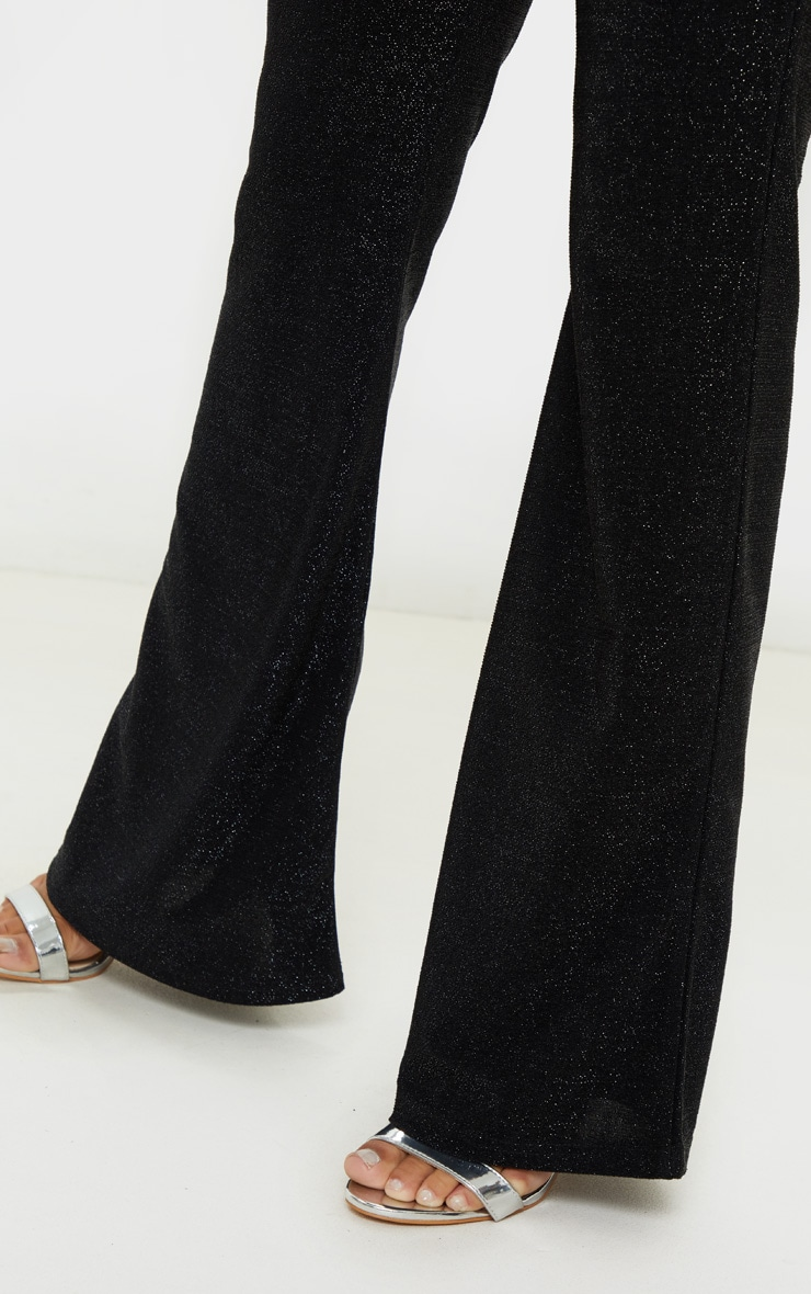 Petite Black Textured Glitter Flared Pants 5