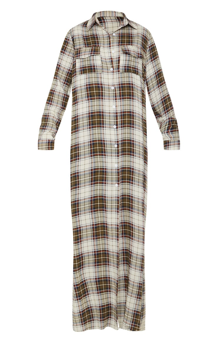Khaki Check Print Oversized Maxi Shirt Dress 3