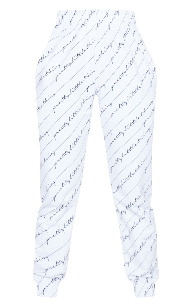 PRETTYLITTLETHING White Printed Joggers 6