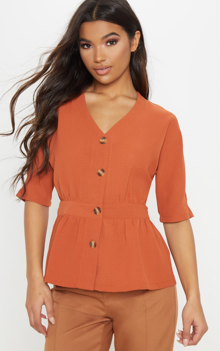 Burnt Orange Button Front Gathered Waist Top
