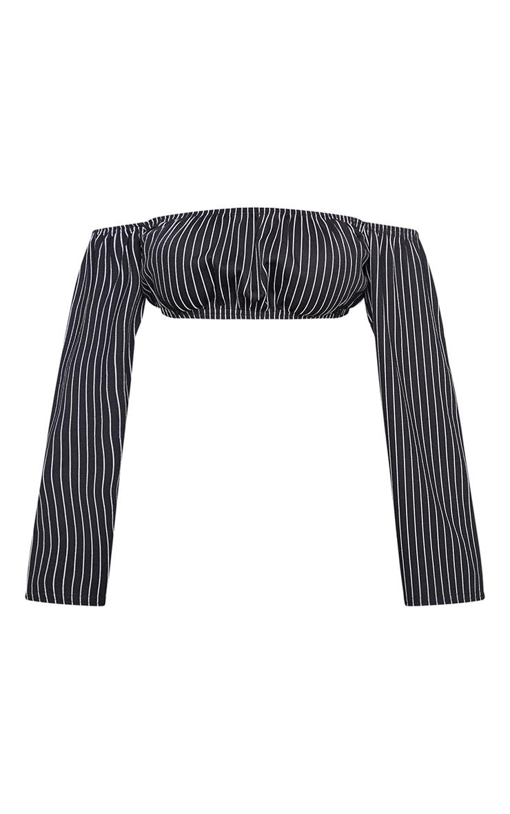 Petite Black Crop Pinstripe Long Sleeve Top 3