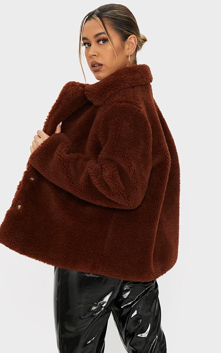 Brown Faux Fur Popper Button Down Jacket 2