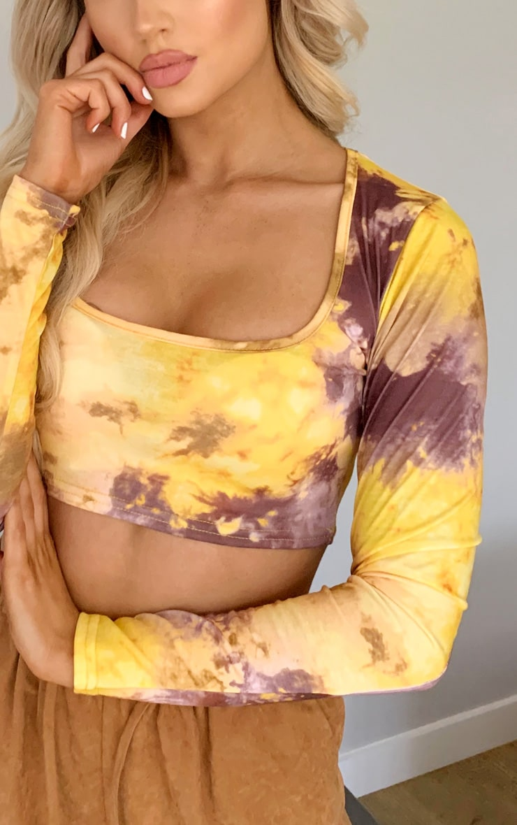 Yellow Tie Dye Long Sleeve Crop Top 3