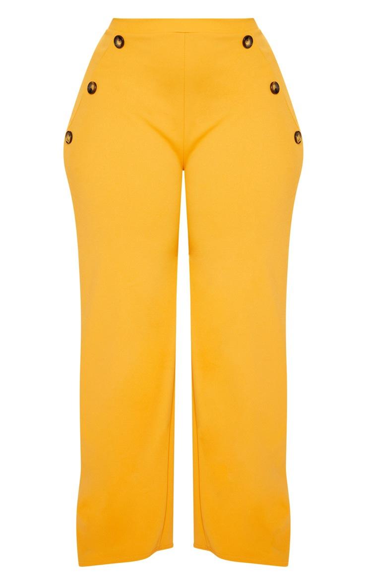 Plus Mustard Button Detail Wide Leg Pants 3