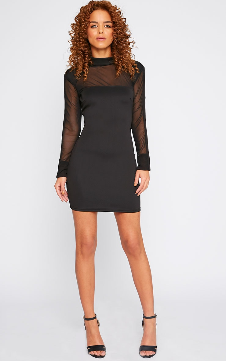 Xara Black Structured Mesh Panel Dress 1