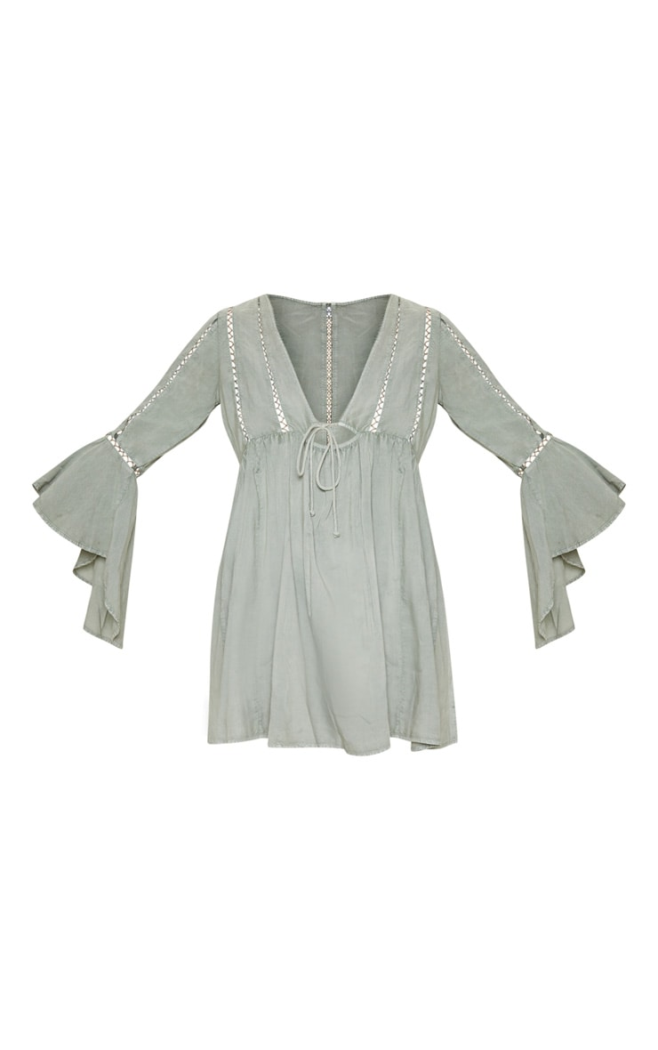 Pale Khaki Tie Front Frill Sleeve Beach Dress 3