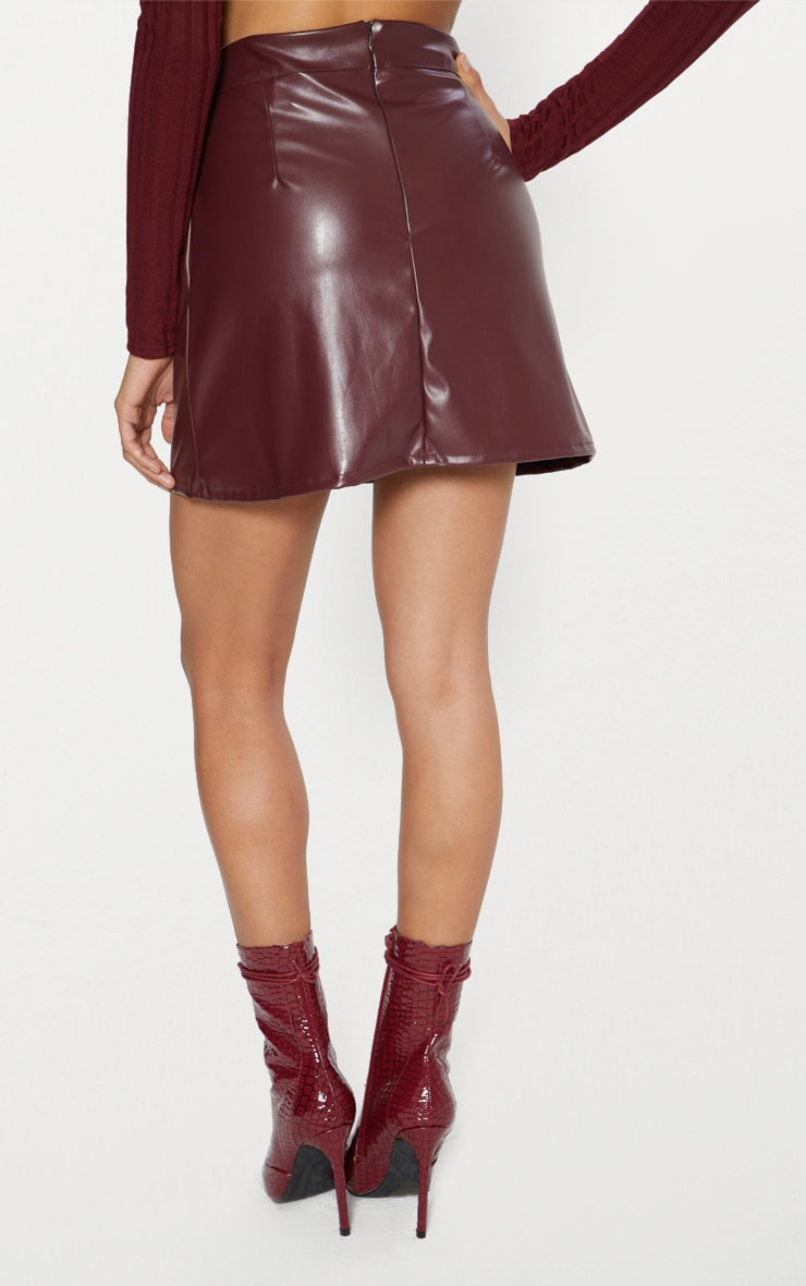 Maroon Faux Leather A Line Mini Skirt  5