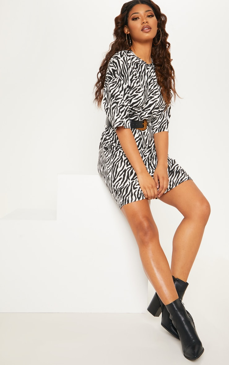 Tall Zebra Print Oversized T-Shirt Dress 1