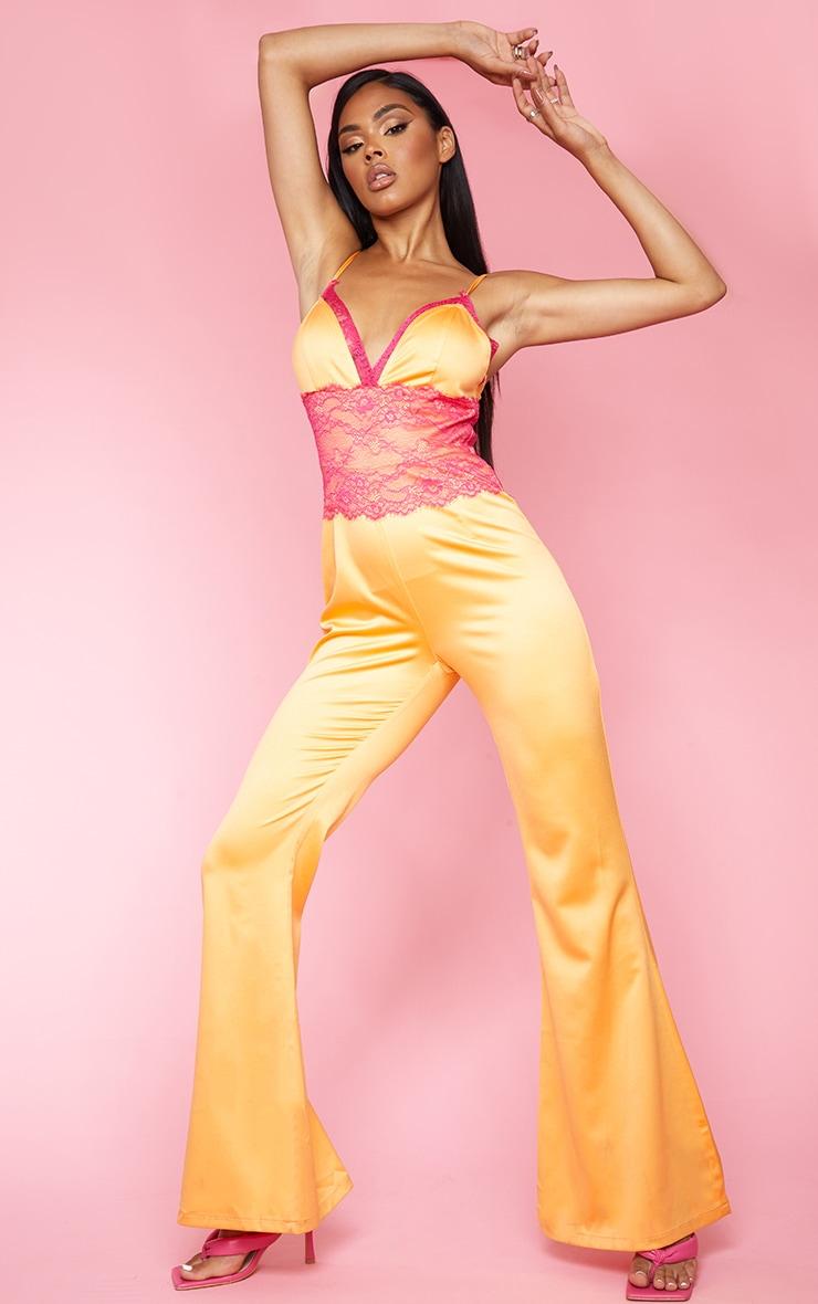 Bright Orange Contrast Lace Trim Satin Jumpsuit 1