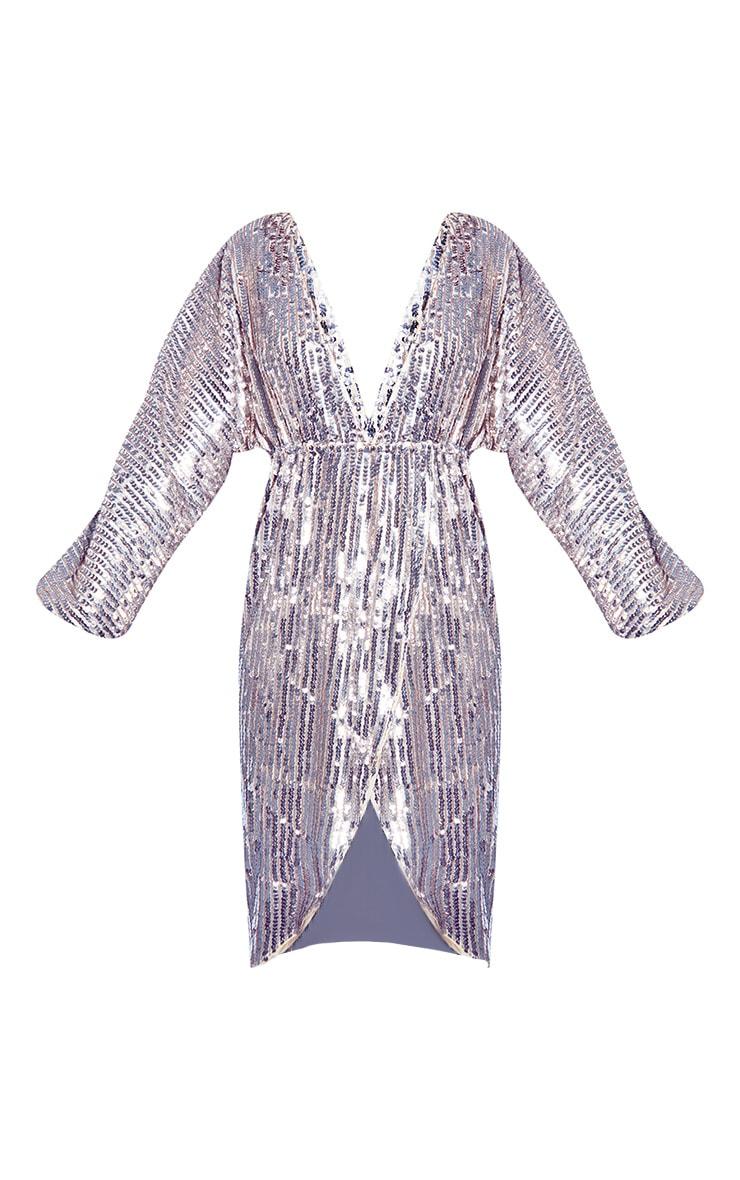 Silver Premium Sequin Kimono Sleeve Wrap Midi Dress 5