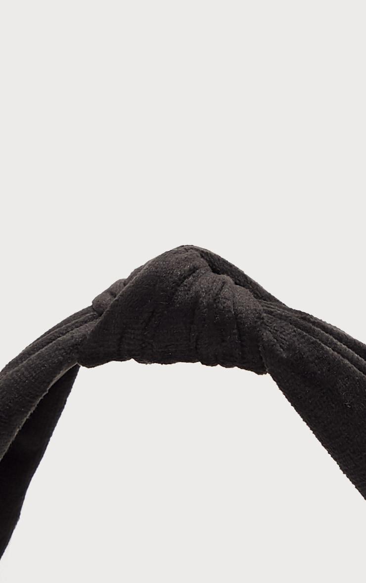 Black Knotted Velvet Headband   3