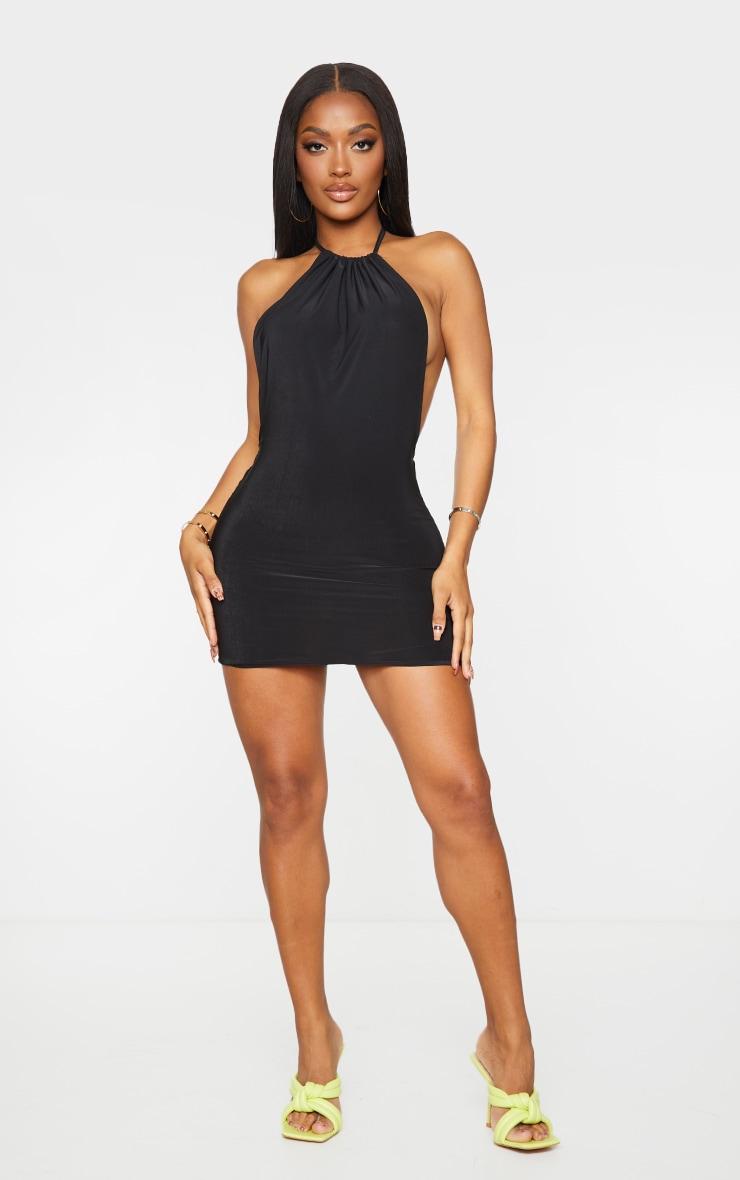 Shape Black Slinky High Neck Backless Bodycon Dress 3