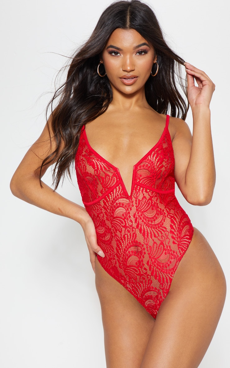 Red Lace V Front Bodysuit 2