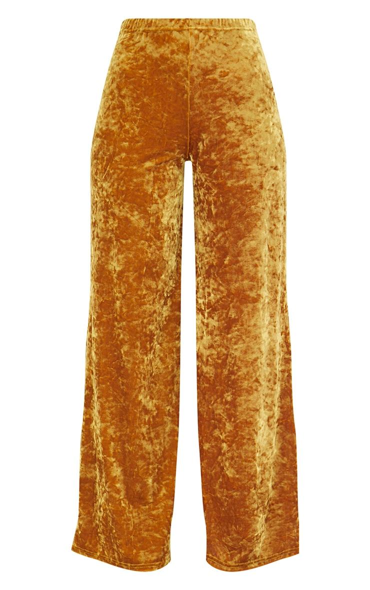 Mustard Crushed Velvet Suit Trouser 2