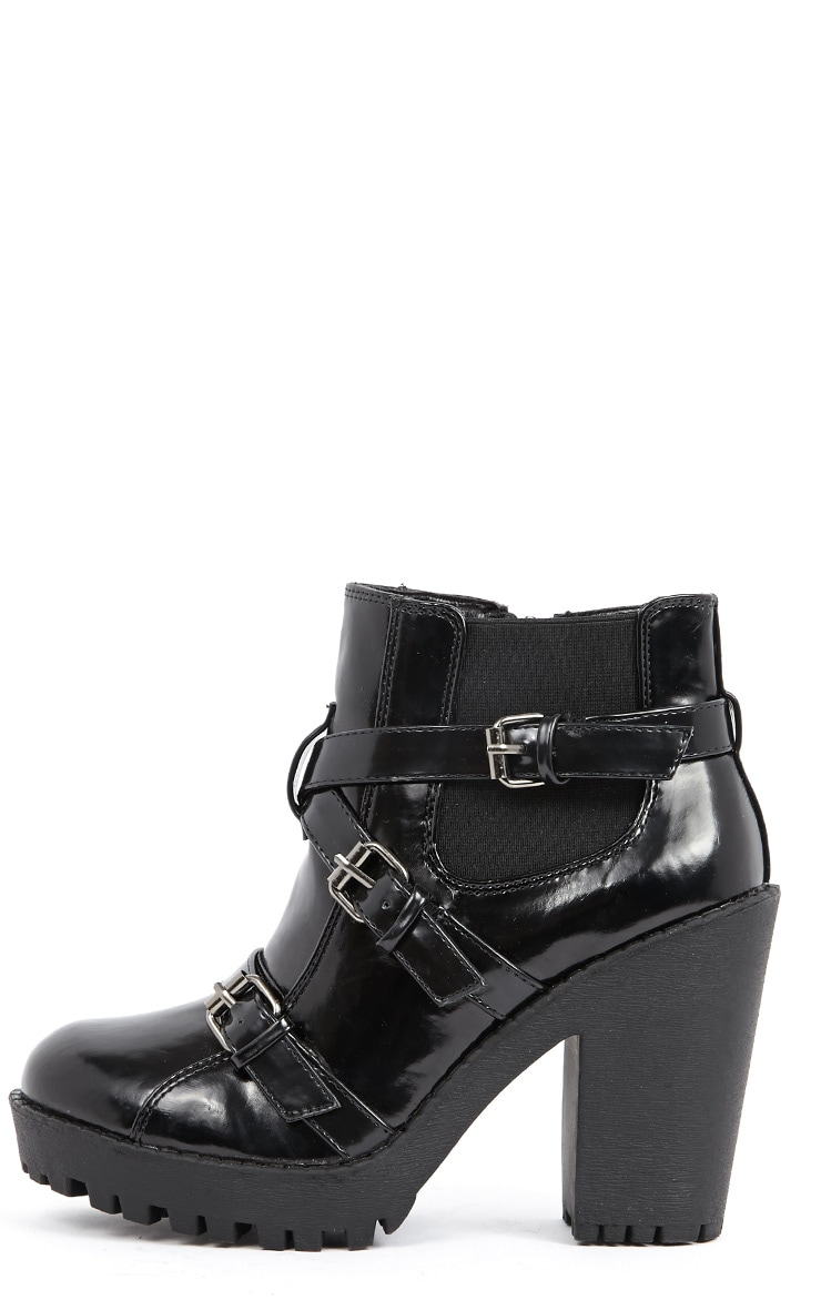 Stacie Patent Chunky Strap Buckle Boots 1