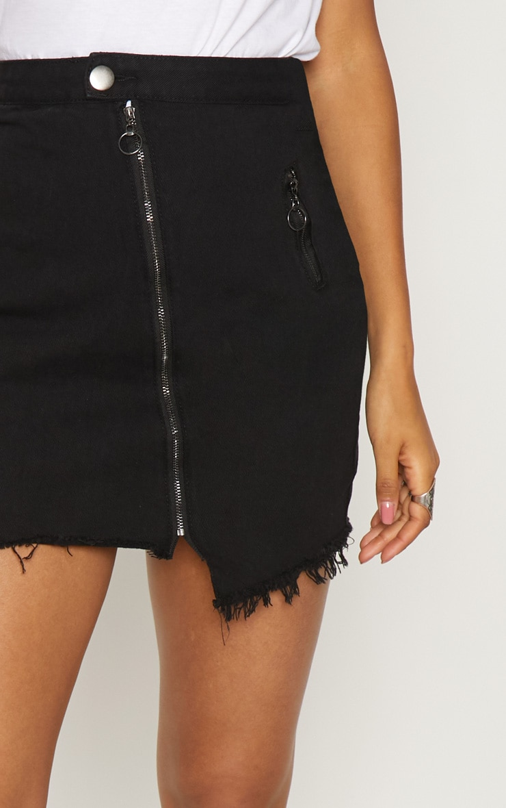 Black Zip Detail Mini Skirt 6