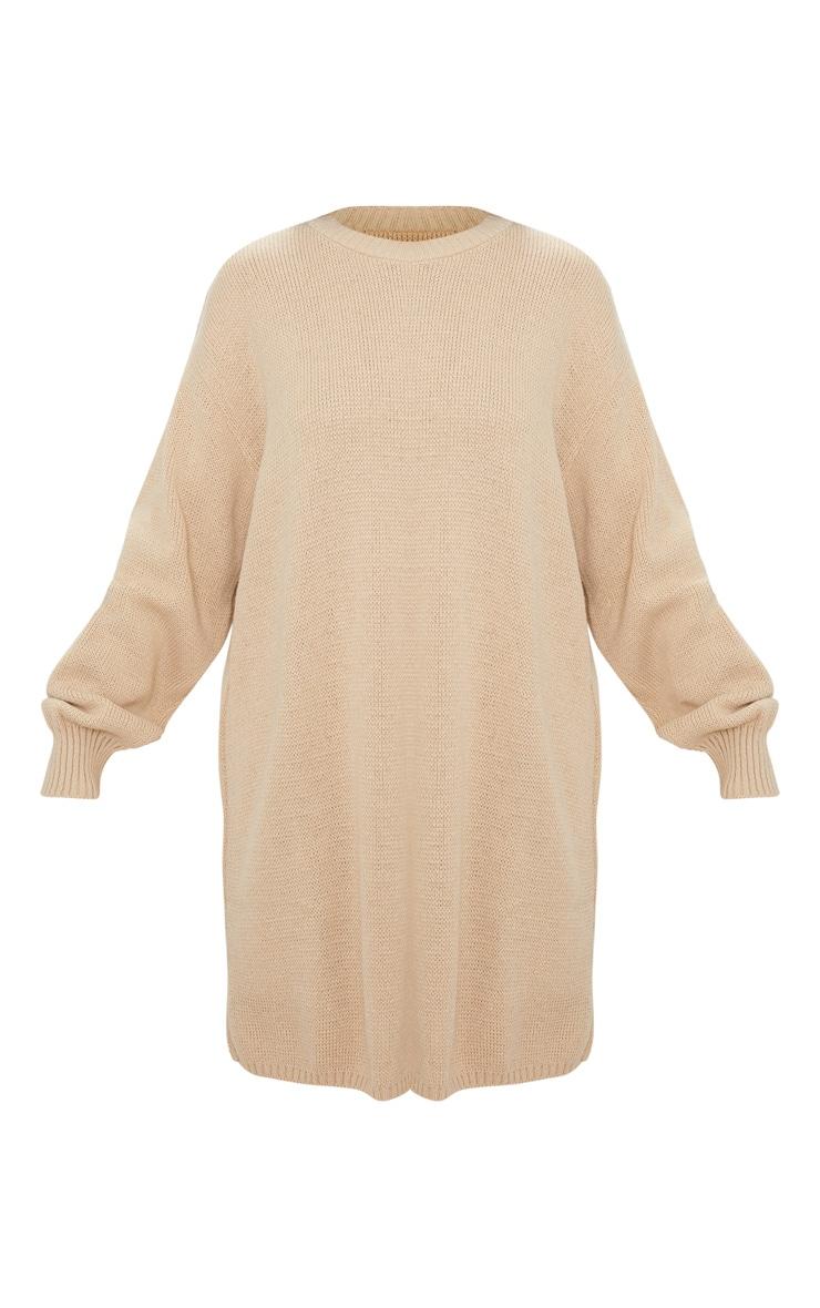 Stone Oversized Knitted Jumper Dress 3