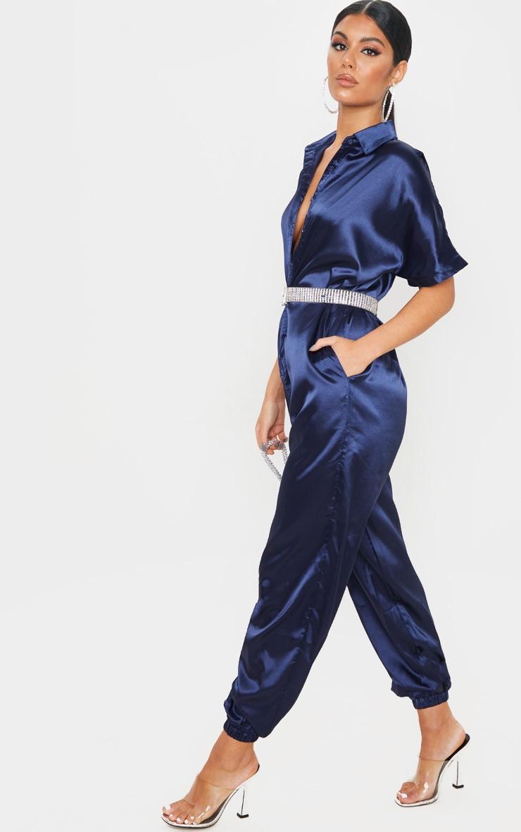 Navy Bonded Satin Oversized Shirt Jumpsuit 1