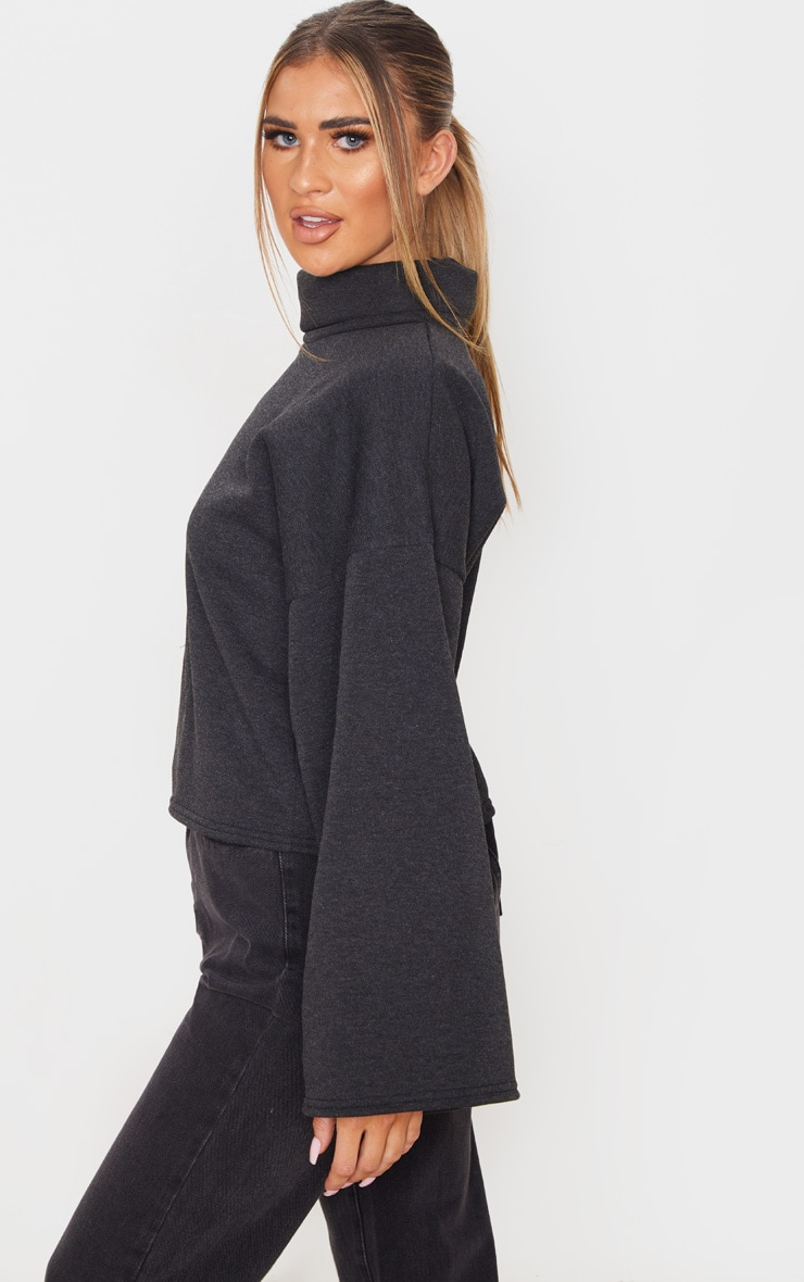 Charcoal Grey Fleece Roll Neck Sweater 2