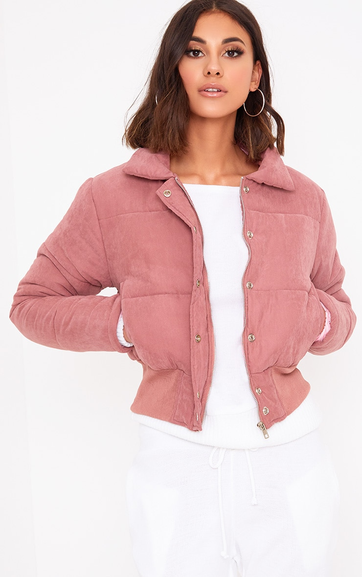 Pink Peach Skin Cropped Puffer Jacket