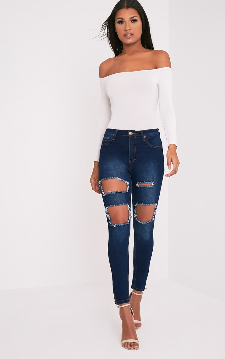 Dark Wash Extreme Rip 5 Pocket Skinny Jean 1