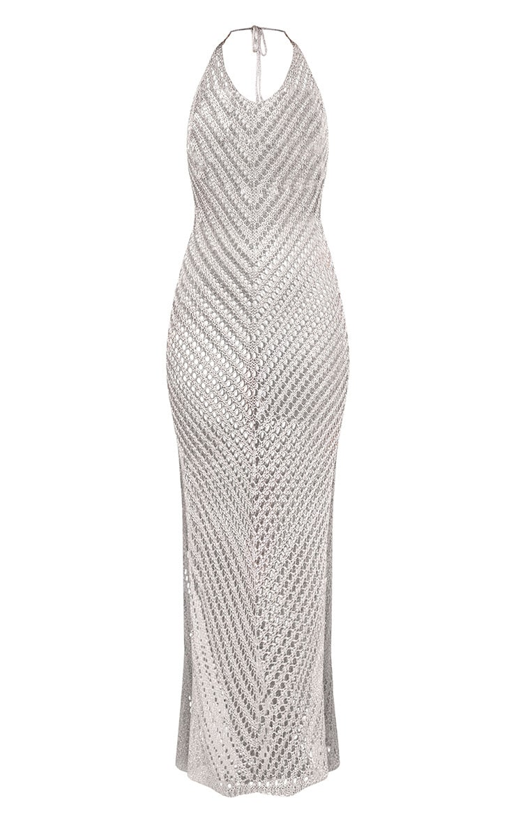 Paizlee Silver Metallic Knit Halter Neck Dress