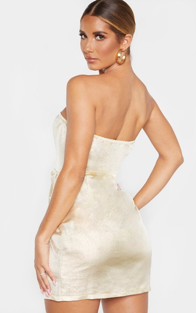 Champagne Textured Glitter V Bar Bandeau Ruched Bodycon Dress