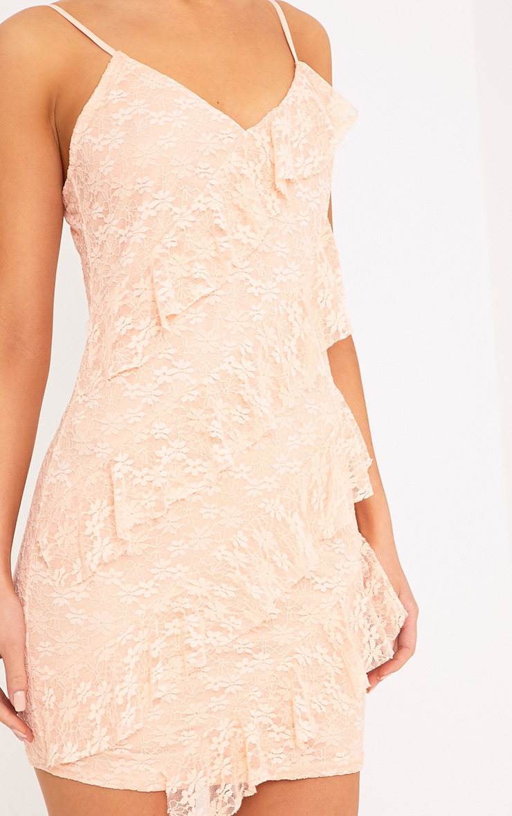 Brittany Blush Strappy Lace Frill Bodycon Dress 5