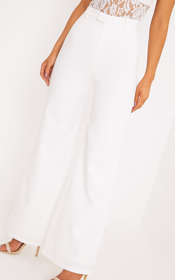 Reemah Cream Wide Leg Crepe Trousers 5