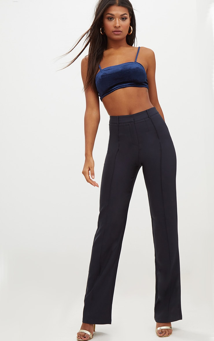 Navy High Waisted Straight Leg Trousers 1