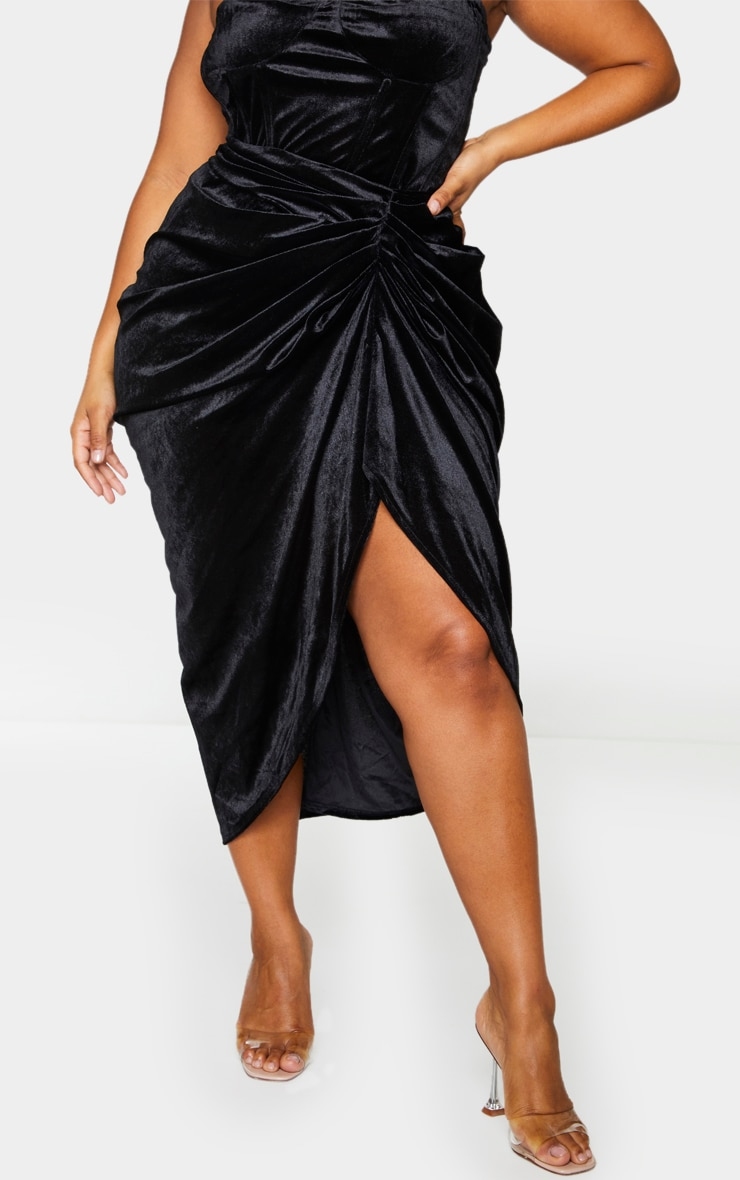 Plus Black Velvet Ruched Side Midi Skirt 2