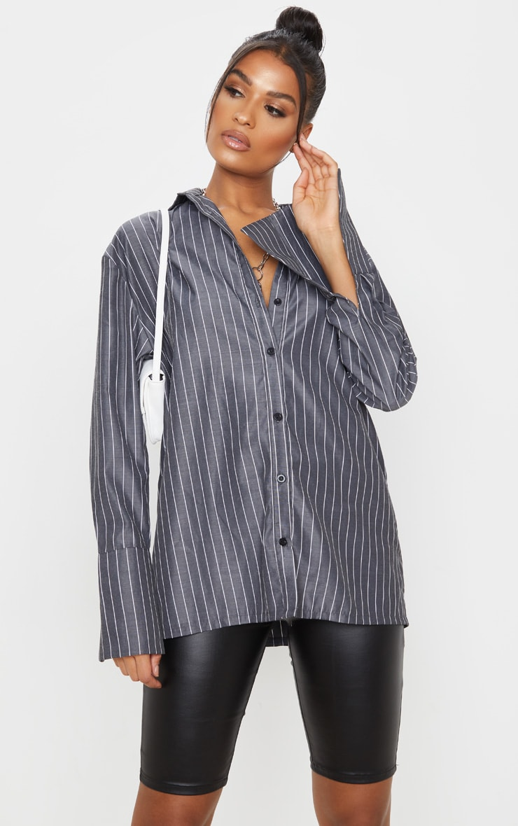 Black Pinstripe Oversized Dad Shirt 1