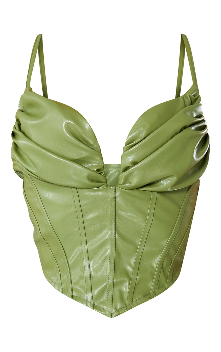 Khaki Faux Leather Ruched Bust Pointed Hem Corset 5